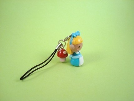 iKtizo Alice in Wonderland with Mushroom cell phone charm